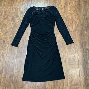 American Living black dress with lace sleeves 10